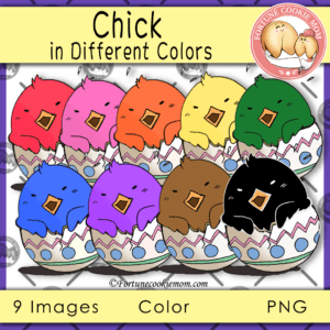 Chick in different colors clipart