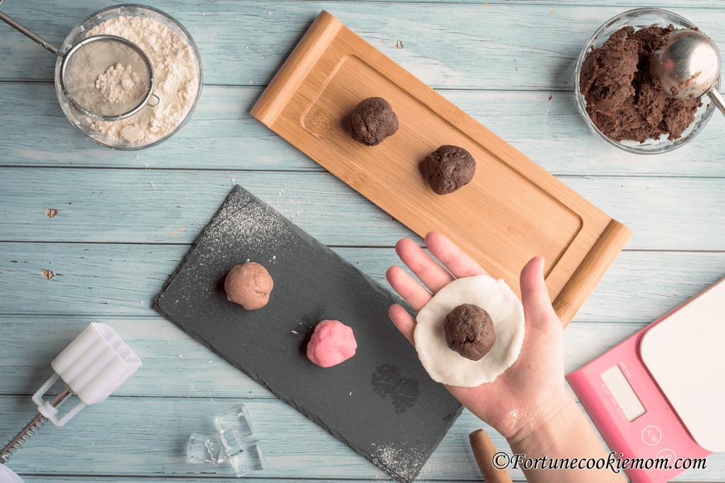 chocolate snow skin mooncakes