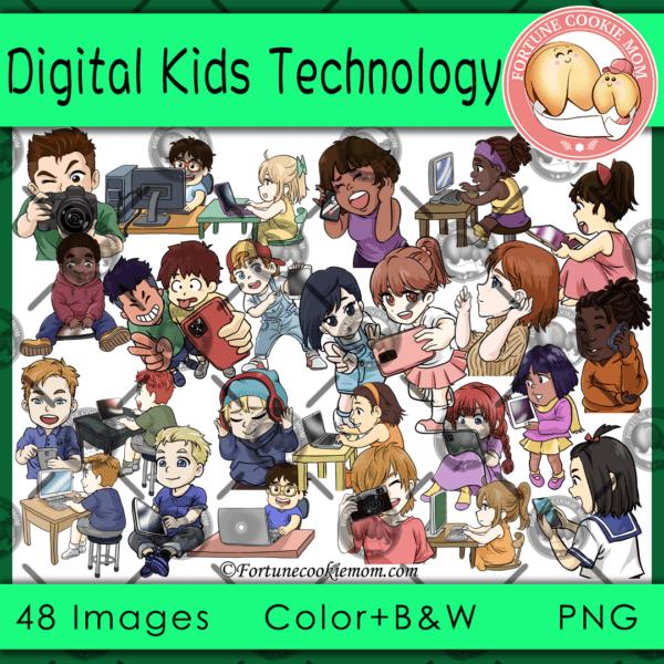 digital kids technology clipart