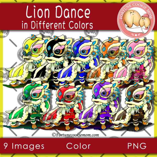 lion dance in different colors