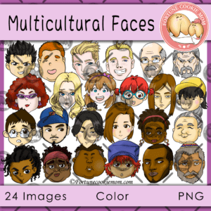 multicultural faces clipart